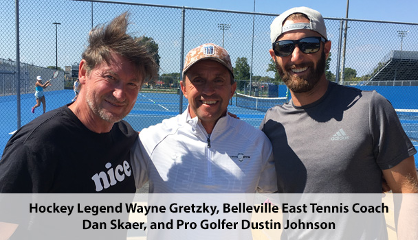 Wayne Gretzky and Dustin Johnson visiting